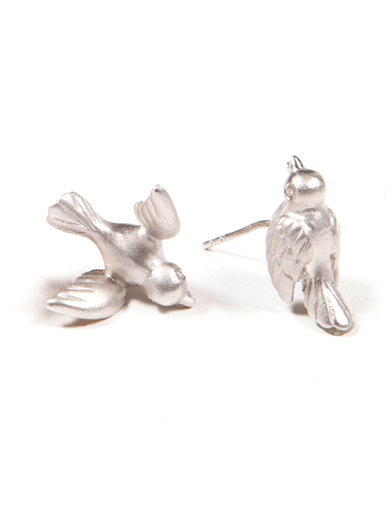 ASYMETRICAL  BIRD  STUD EARRING