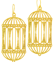 GRAND ANTIQUE  BIRDCAGE EARRING