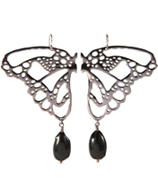 WINTER STONE TIPPED  BUTTERFLY WING EARRING