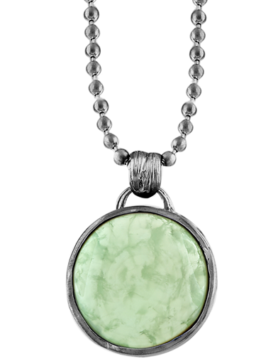 LEAF WRAPPED STONE MEDALLION NECKLACE