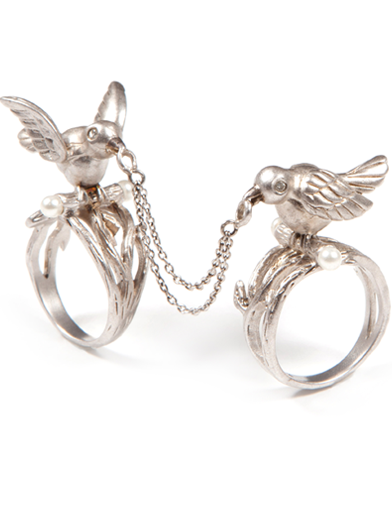 LINKED LOVE BIRD RINGS
