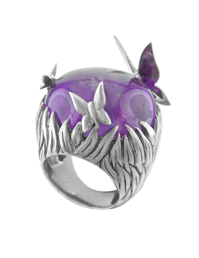 AMETHYST BOULDER BUTTERLY RING